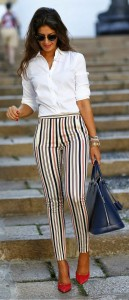 Романтический образ с узкими брюками фото (9)
