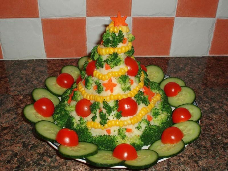 Фото оформление новогоднего салата