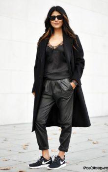 модные кожаные брюки 2017 фото (17)