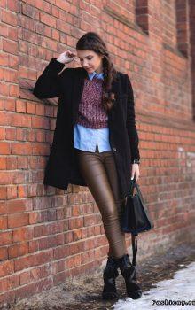 модные кожаные брюки 2017 фото (21)