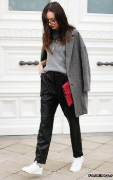 модные кожаные брюки 2017 фото (23)
