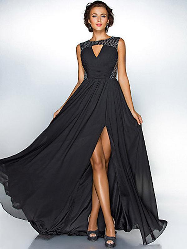 Длинные шифоновые платья с разрезом