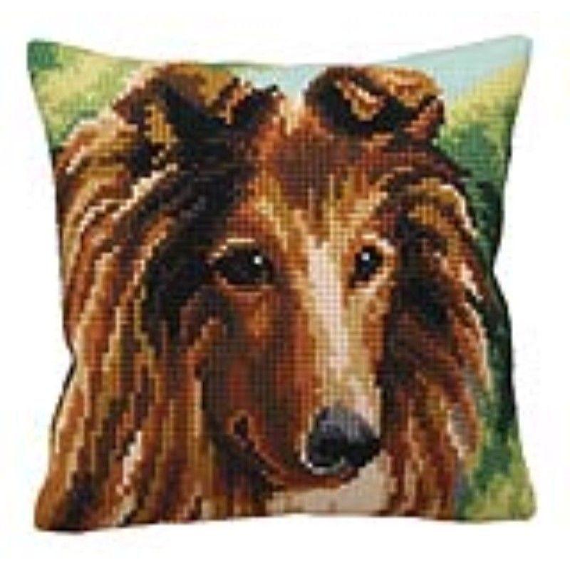 Подушка с вышивкой Колли