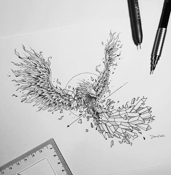 Татуировка феникс: Значение, лучшие эскизы и 70 красивых фото
