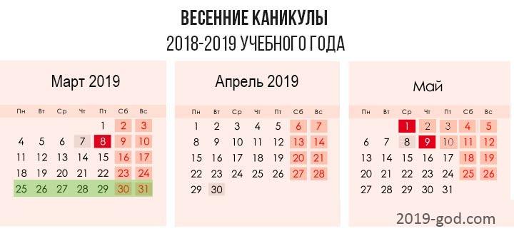 Весенние каникулы 2019-2020 года