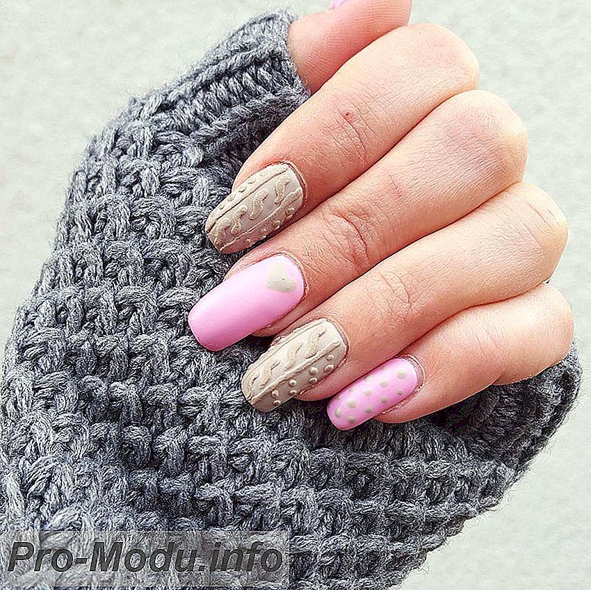 Вязаный маникюр 2019: уютные узоры на ногтях