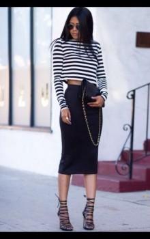 С чем носить черную юбку карандаш фото (8)