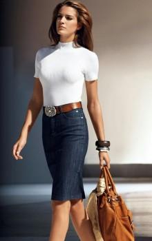 с чем носить джинсовую юбку карандаш фото (10)