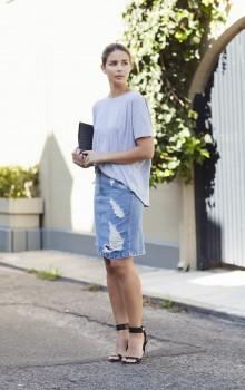 с чем носить джинсовую юбку карандаш фото (14)