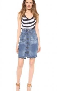 с чем носить джинсовую юбку карандаш фото (19)