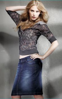 с чем носить джинсовую юбку карандаш фото (2)