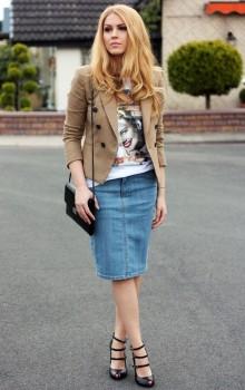 с чем носить джинсовую юбку карандаш фото (6)