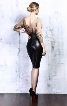 с чем носить кожанную юбку карандаш фото (8)