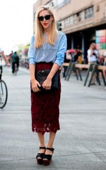 с чем носить кружевную юбку  карандаш фото (27)