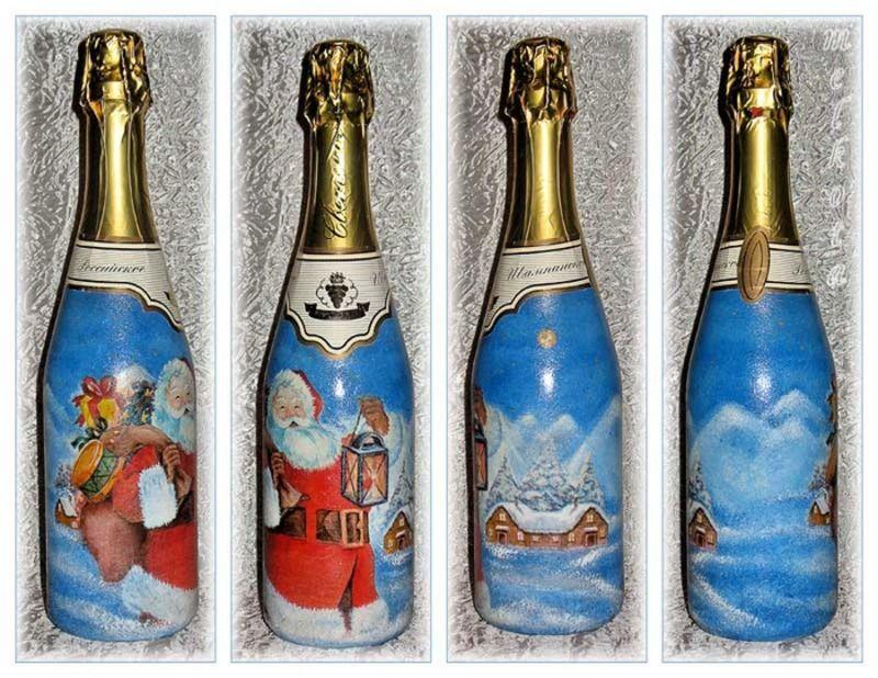 Декупаж для бутылки шампанского