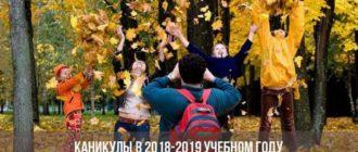 Каникулы в 2018-2019 учебном году